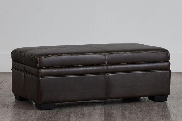 Carson Dark Brown Leather Storage Ottoman (0)