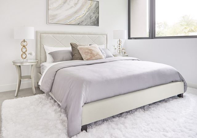 Collin Beige Velvet Platform Bed (1)