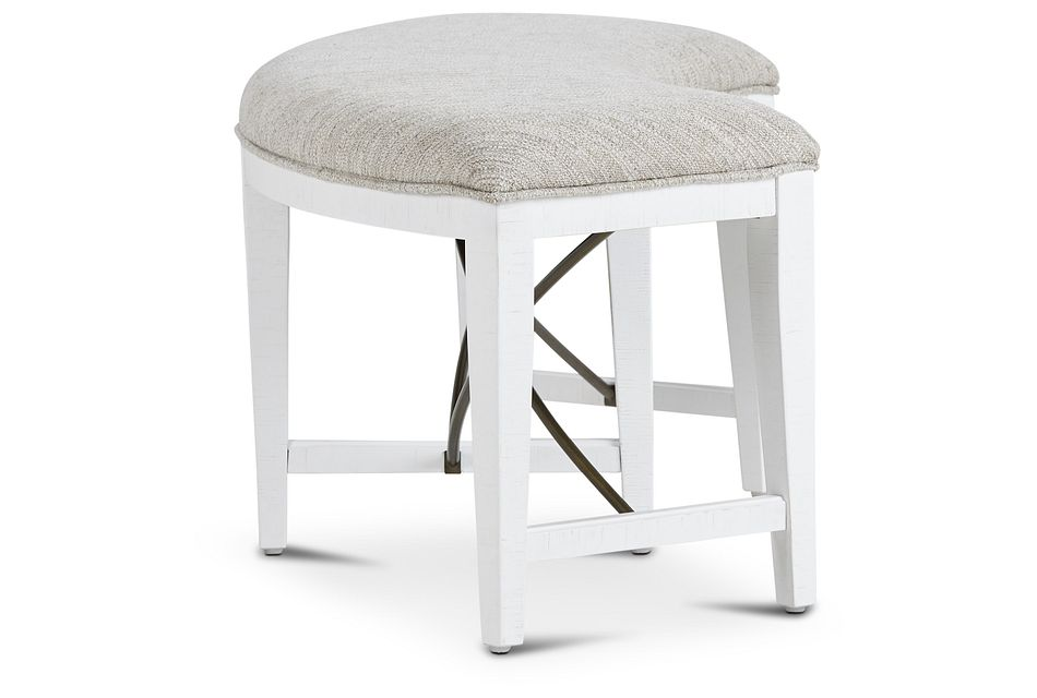 Heron Cove White Curved Dining Bench