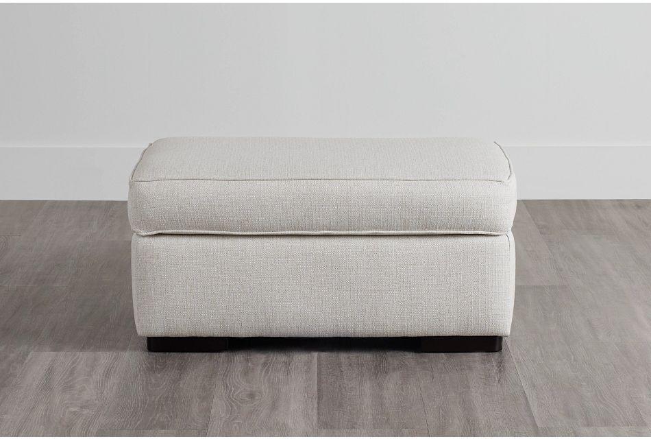 Austin White Fabric Ottoman,  (0)