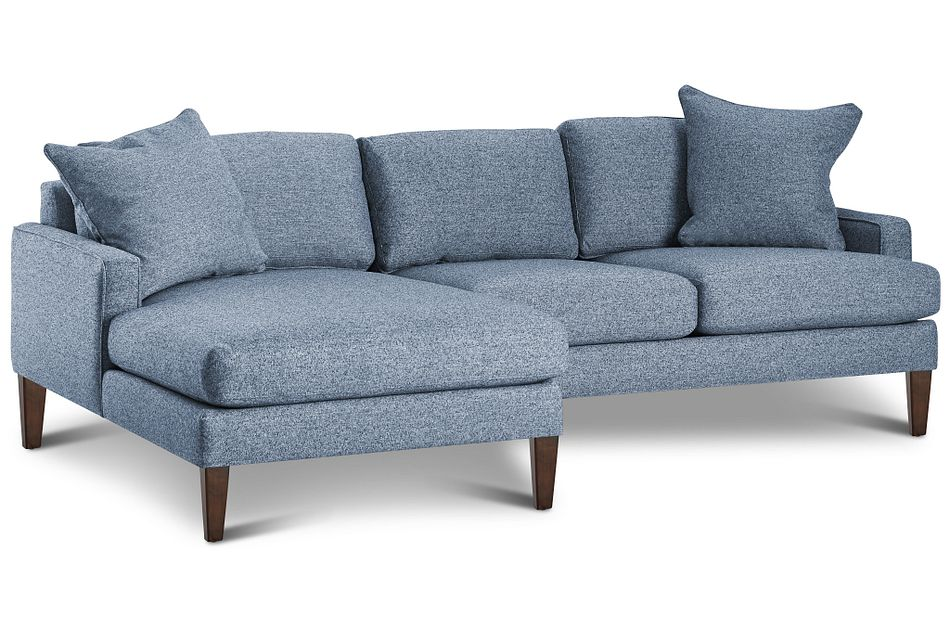 Morgan Blue Fabric Small Left Chaise Sectional W/ Wood Legs