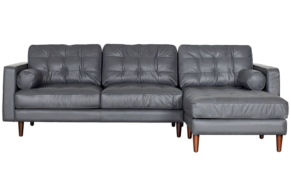 Encino Gray Leather Right Chaise Sectional