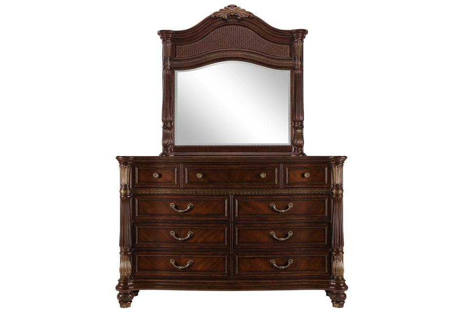 Tradewinds Dark Tone Woven Dresser & Mirror