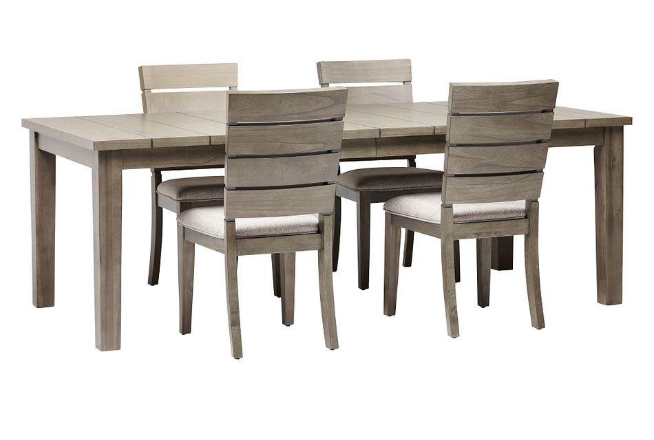 Sienna Gray Rect Table & 4 Slat Chairs