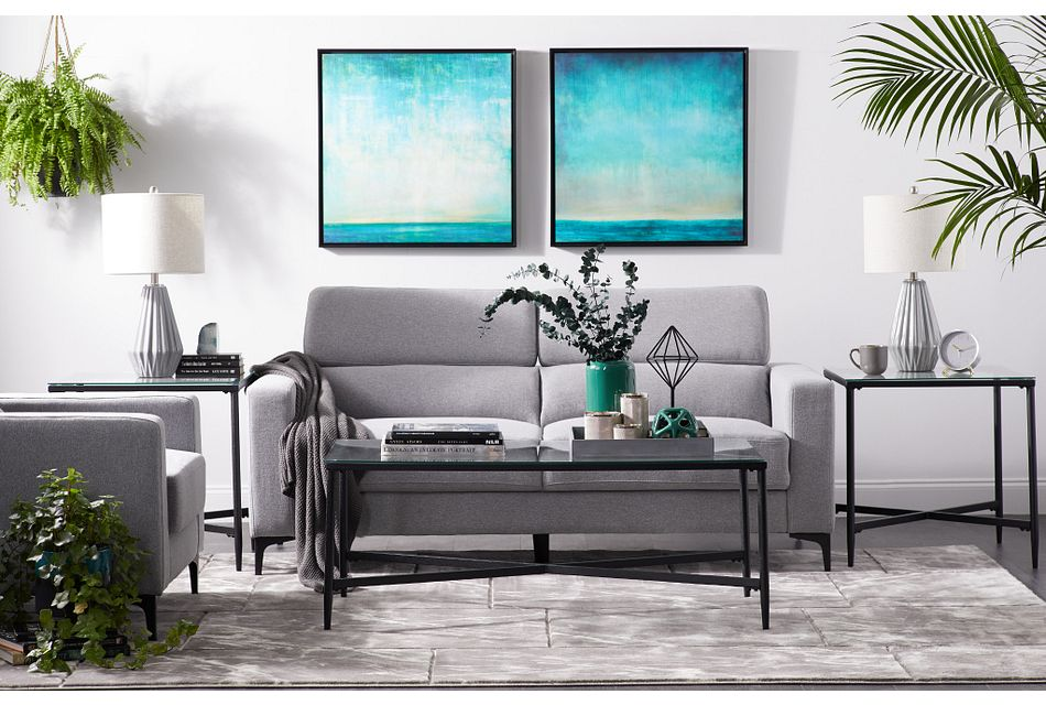 Trenton Light Gray  FABRIC 7-Piece Living Room Package