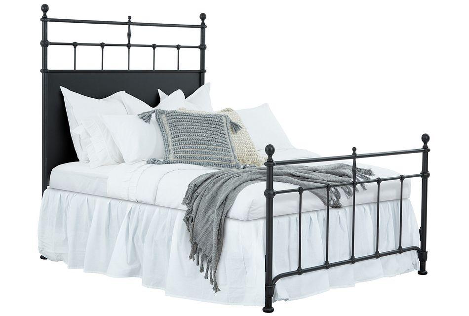 Trellis Black Metal Panel Bed
