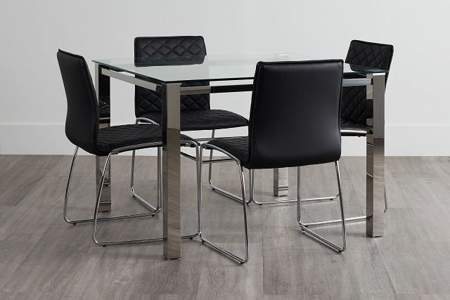 Skyline Black Square Table & 4 Metal Chairs (0)