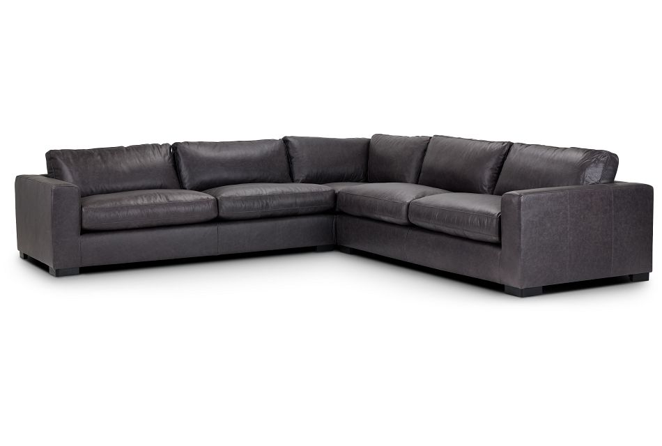 Bohan Black Leather Large Two-Arm Sectional,  (1)