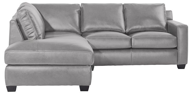 Carson Gray Leather Left Bumper Sectional (2)