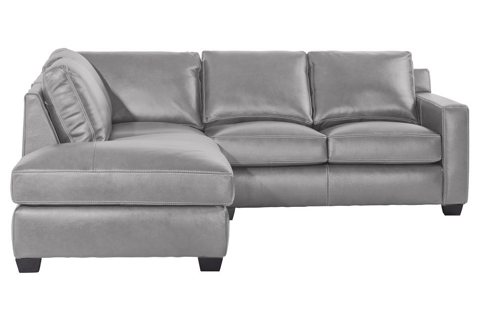 Carson Gray Leather Left Bumper Sectional