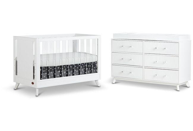 Kayson White Small Crib Bedroom