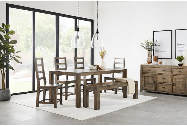 Seattle Gray Rect Table, 4 Chairs & Bench