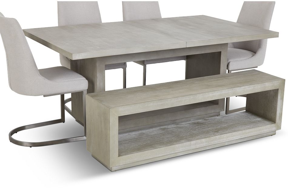 Madden Light Tone Rect Table, 4 Chairs & Bench