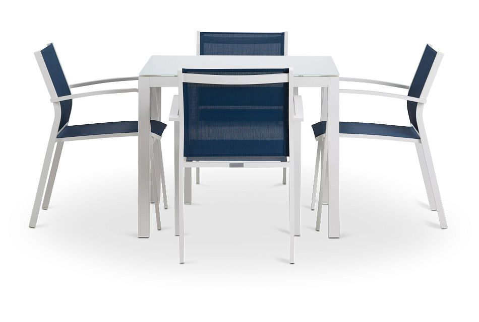 """Lisbon NAVY 36"""" Square Table & 4 Sling Chairs"""