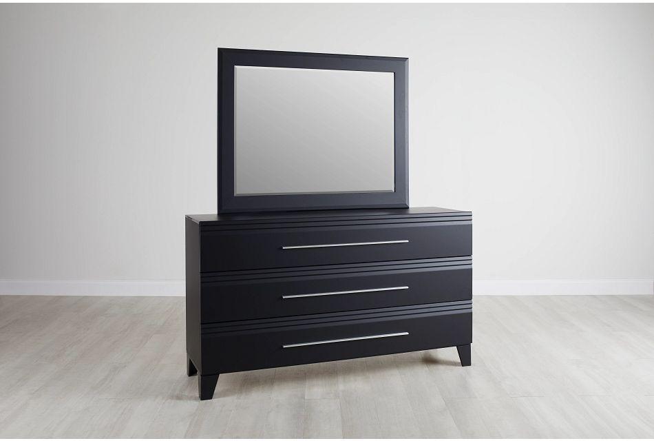 Midtown Black Dresser & Mirror