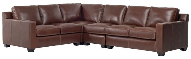 Carson Medium Brown Leather Medium Two-arm Sectional (2)