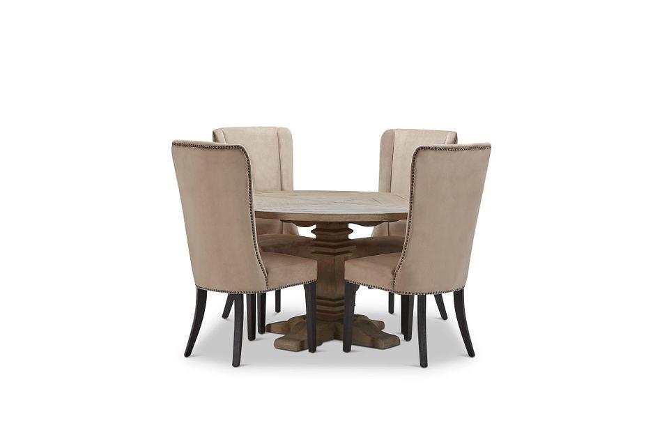 """Hadlow Gray 54"""" Table & 4 Velvet Chairs"""