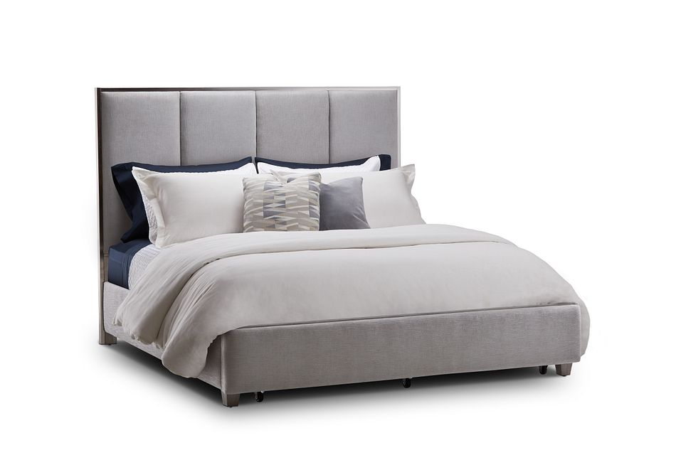 Tribeca Light Gray  Uph Panel Storage Bed