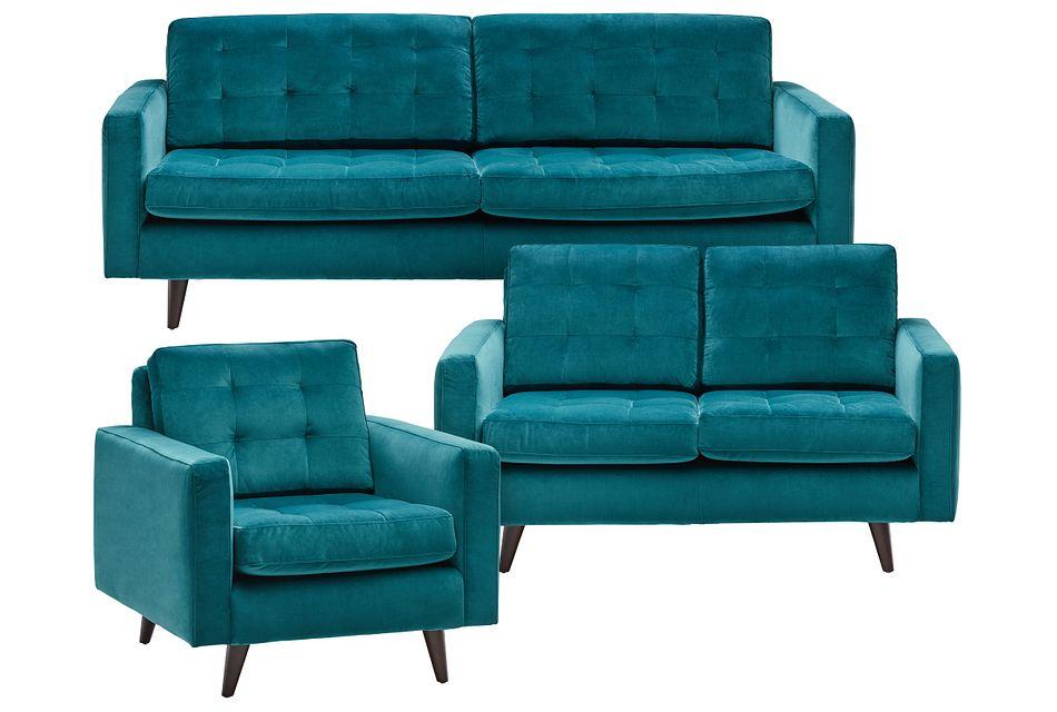 Mila Teal Velvet Living Room