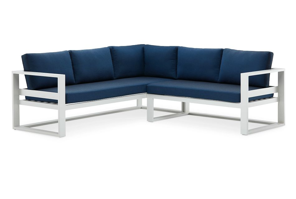 Lisbon Navy Aluminum Small Right Sectional