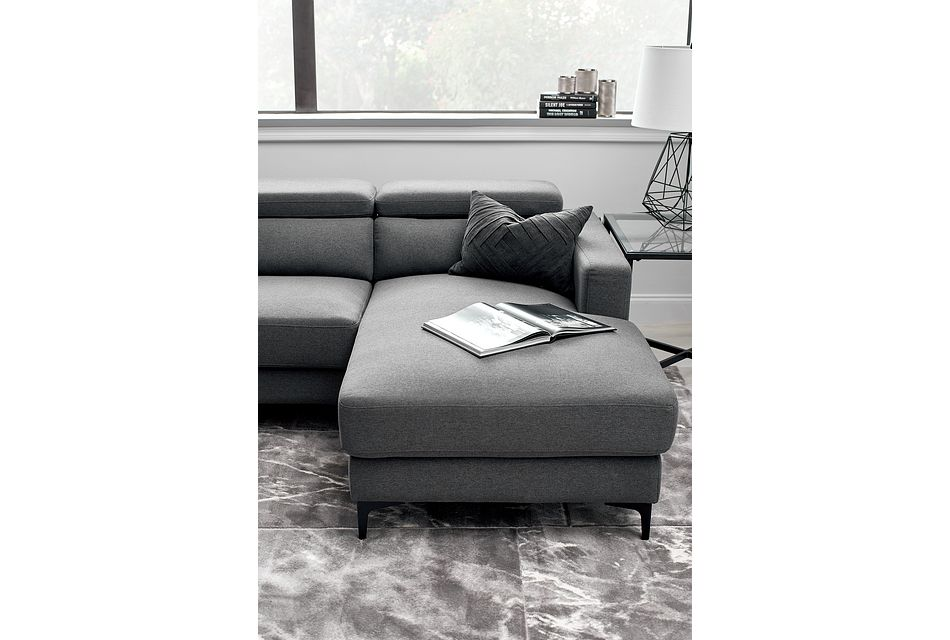 Trenton Dark Gray Fabric Right Chaise Sectional