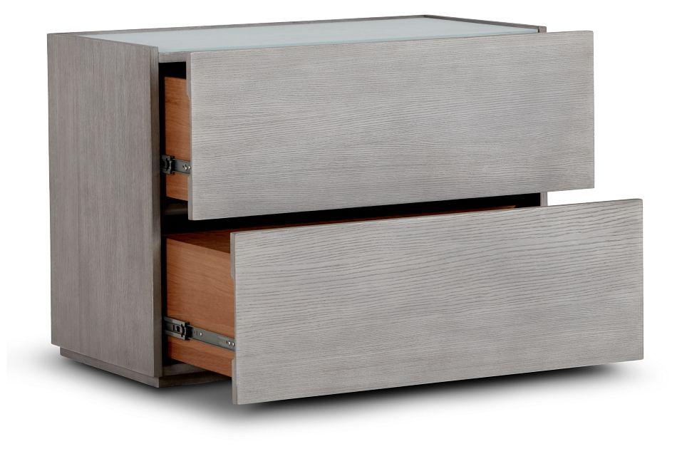 Rio Light Tone Glass 2-drawer Nightstand