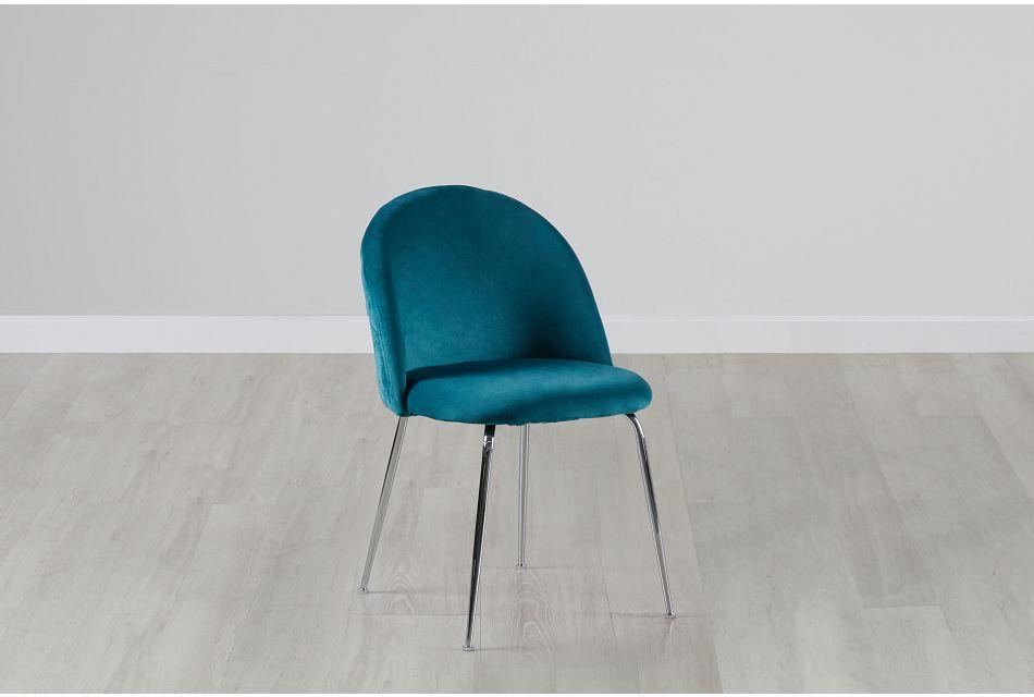 Capri Dark Teal   Upholstered Side Chair w/Chrome Legs,  (0)