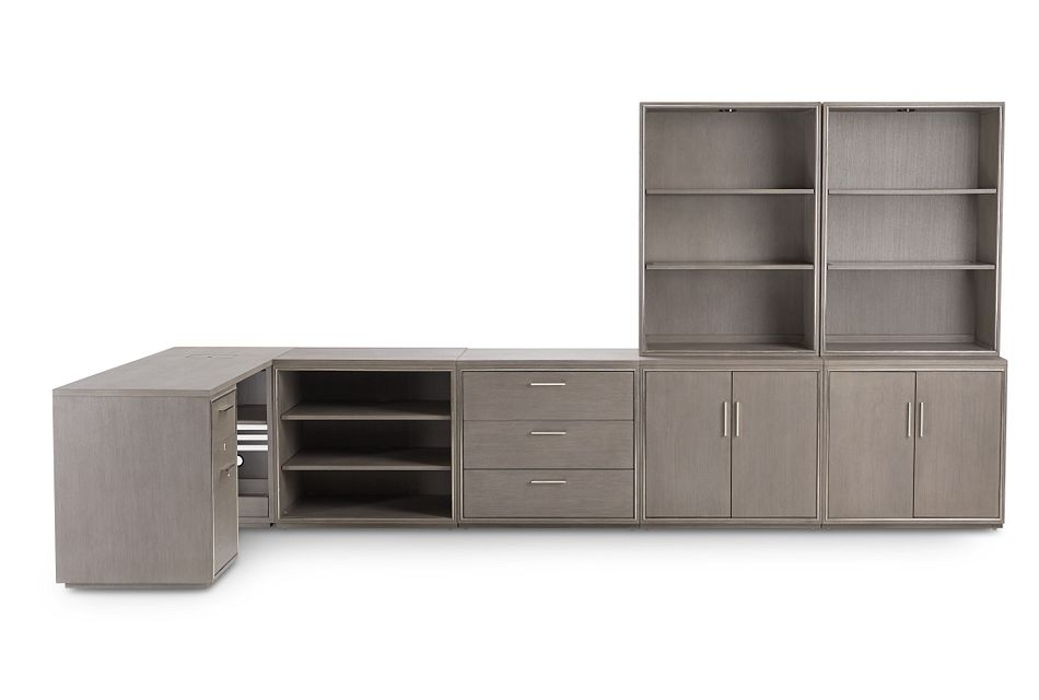 Highline Gray 5 Piece L Desk