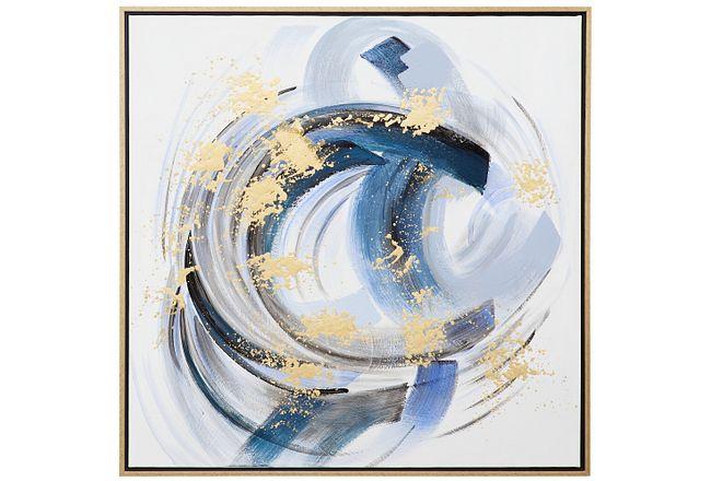Flux Blue Framed Canvas Wall Art
