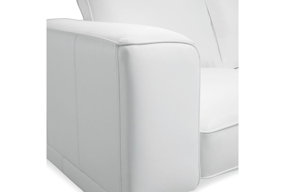 Naples White Leather Loveseat With Black Legs