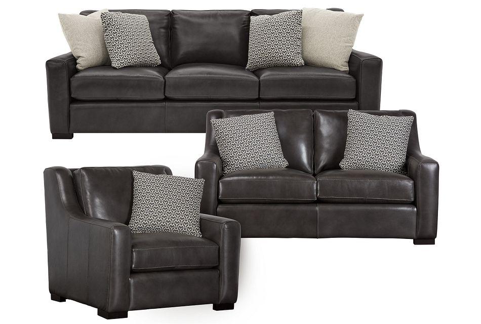 Germaine Dark Gray Leather Living Room