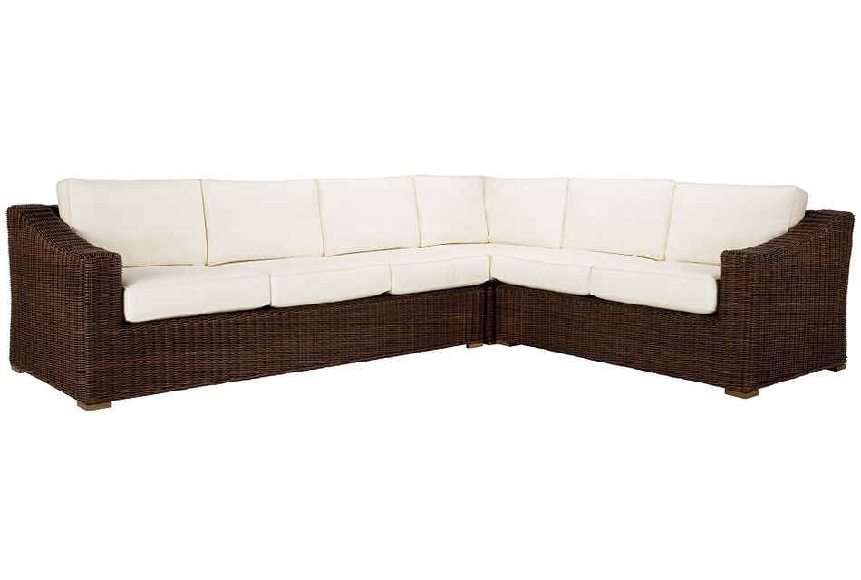 Canyon Dark Brown White Medium Left Sectional