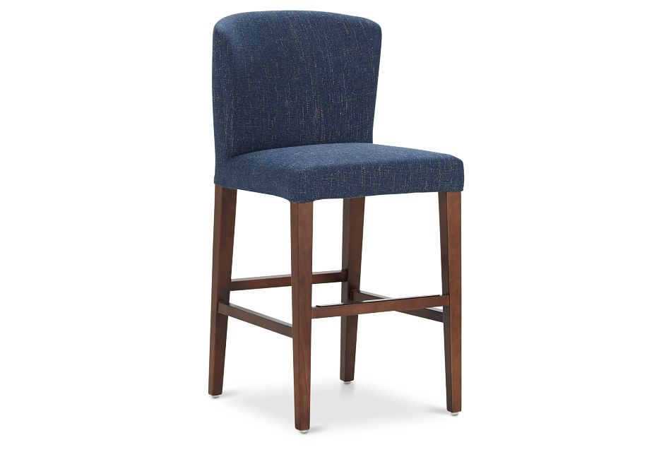 "Bentley Dark Blue 24"" Upholstered Barstool"