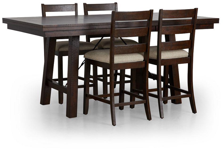 Jax Dark Tone High Table & 4 Wood Barstools