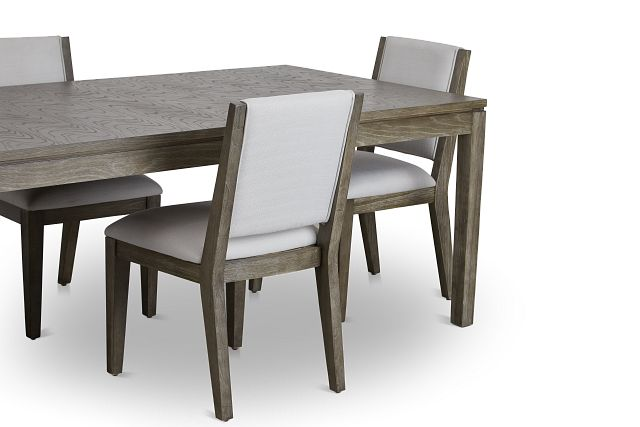 Bravo Dark Tone Rect Table & 4 Upholstered Chairs