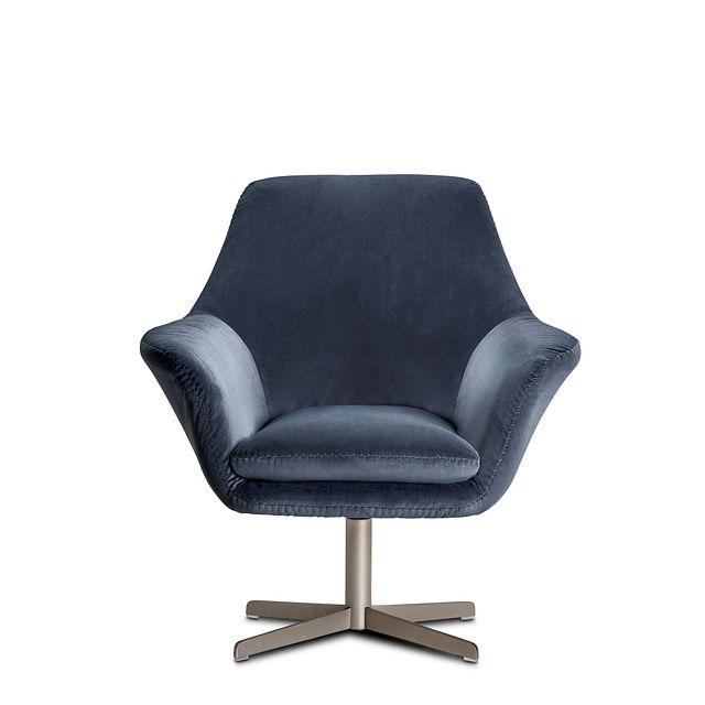 Xander Dark Gray Velvet Swivel Accent Chair (2)