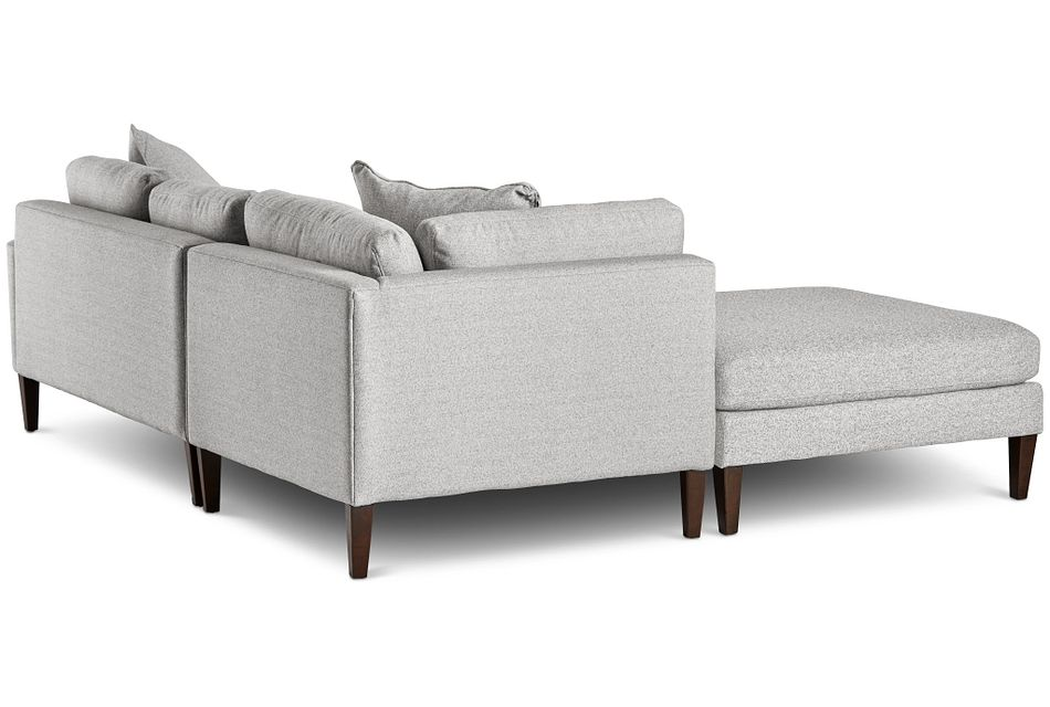 Morgan Light Gray Fabric Small Left Bumper Sectional W/ Wood Legs