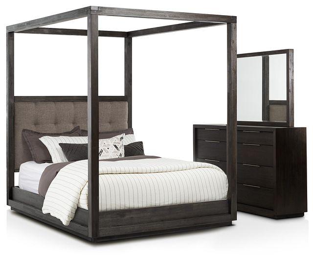 Madden Gray Fabric Canopy Bedroom (0)