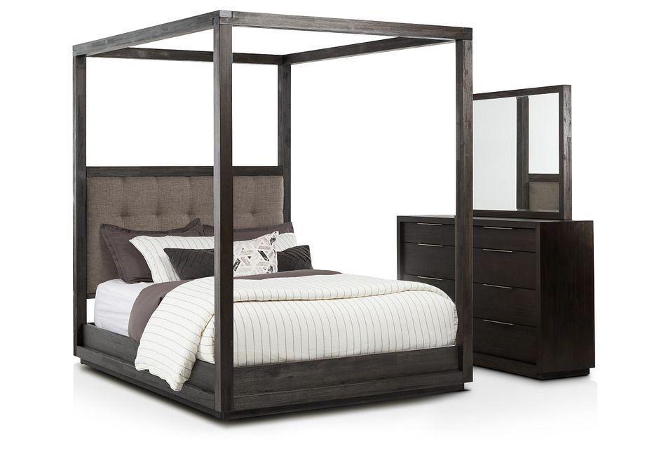 Madden Gray Fabric Canopy Bedroom