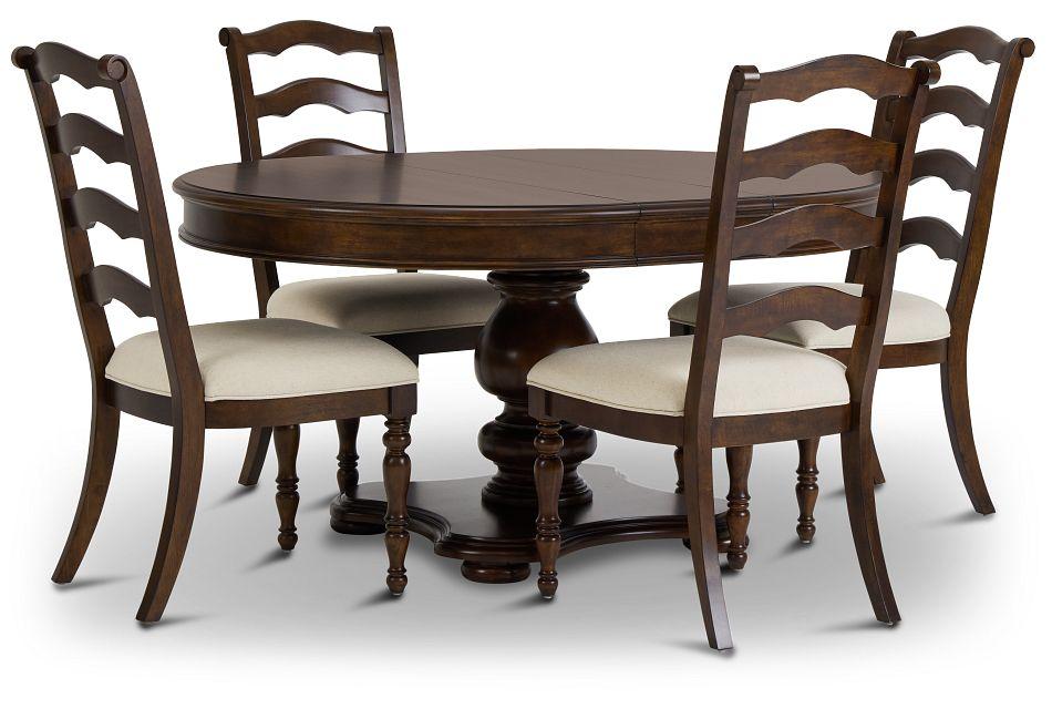 Savannah Dark Tone Round Table & 4 Chairs,  (3)