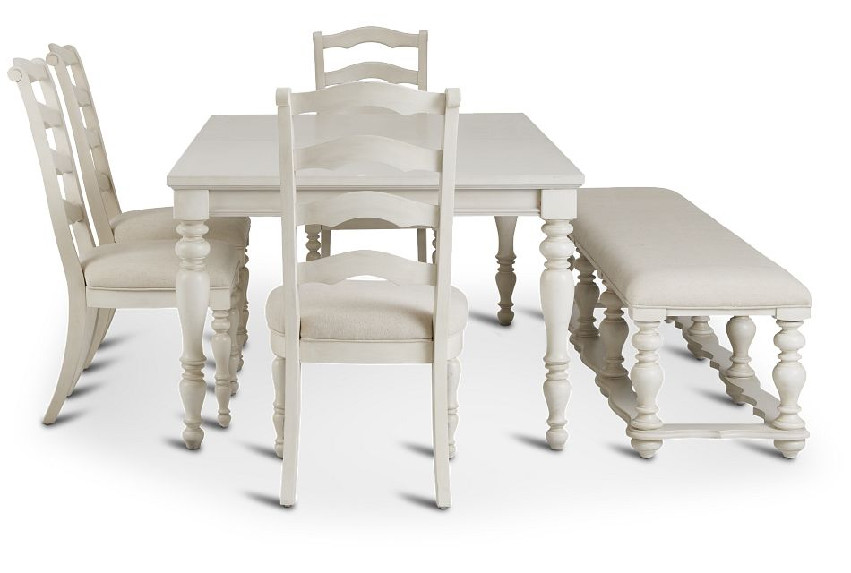 Savannah Ivory Rect Table, 4 Chairs & Bench,  (2)