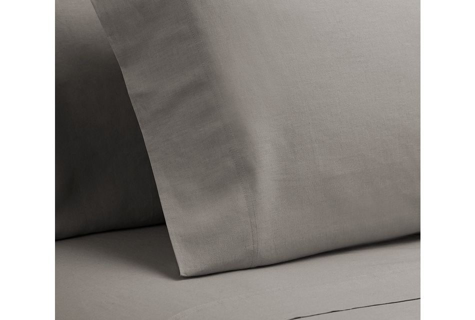 Linen Blend Gray  Set Of 2 Pillowcases