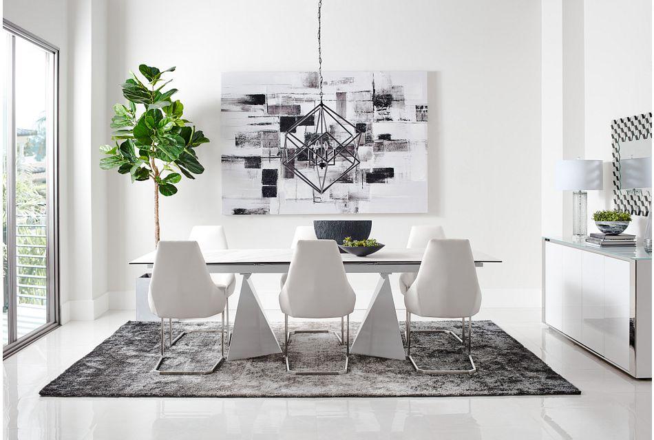 Monaco White Ceramic Rectangular Table