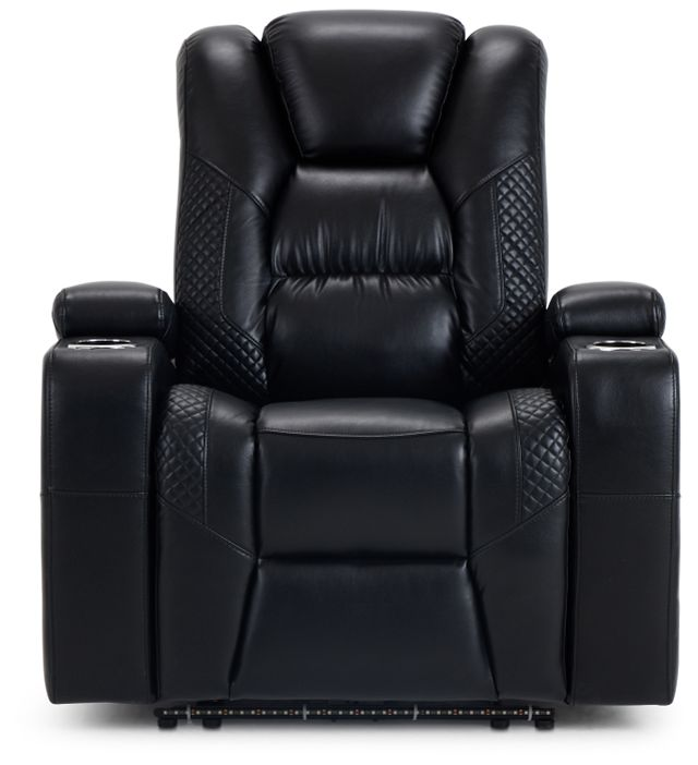 Troy Black Micro Power Recliner With Power Lumbar