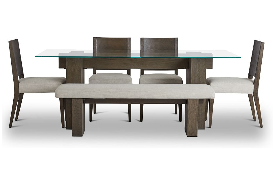 Oakland Dark Tone Glass Table, 4 Chairs & Bench,  (2)