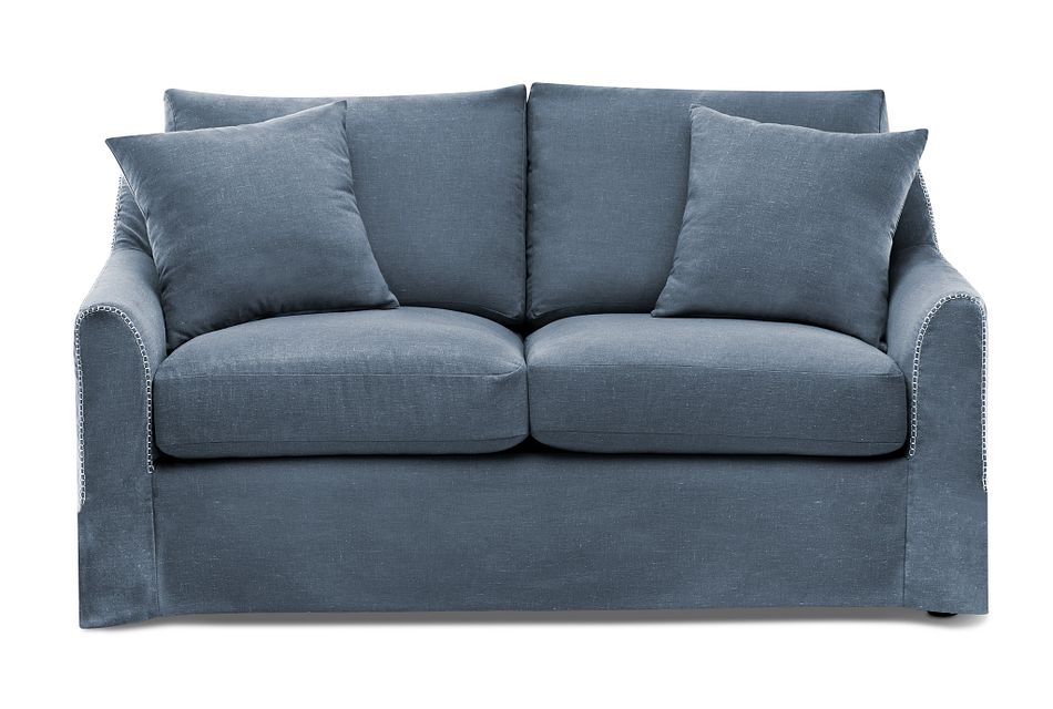 Madelyn Blue Fabric Loveseat