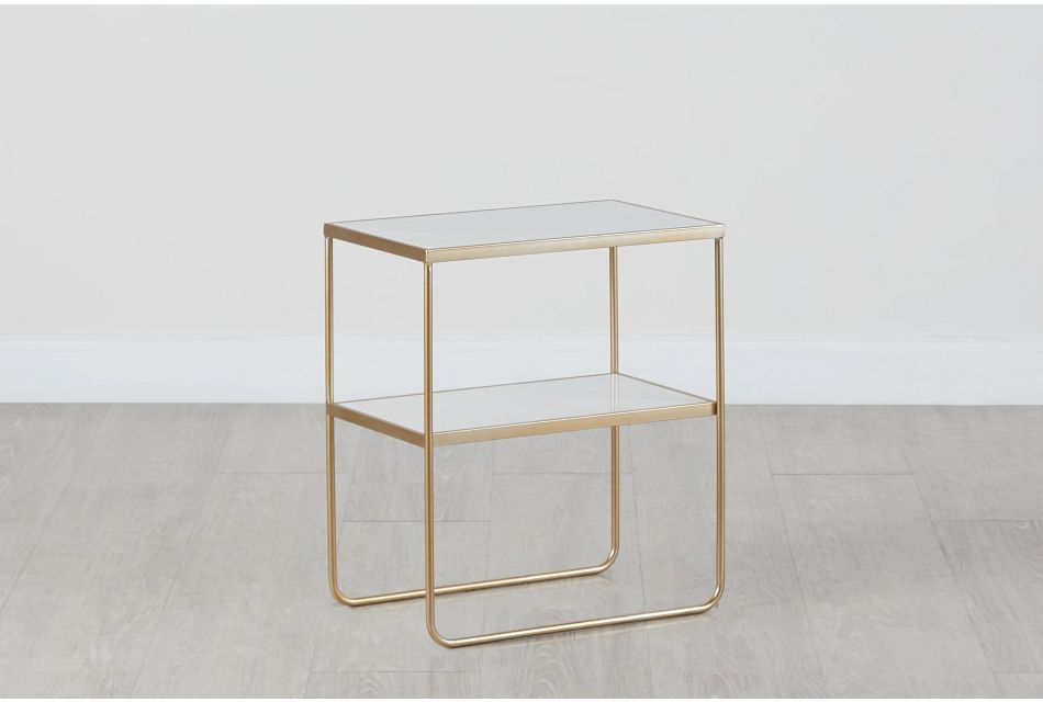 Soiree Gold Marble End Table
