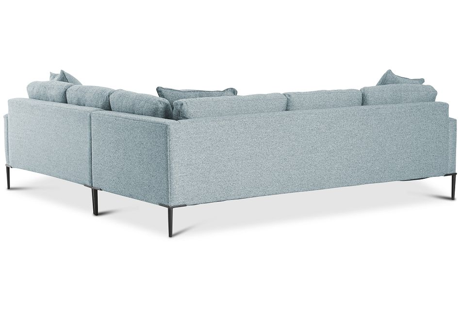 Morgan Teal Fabric Small Left 2-arm Sectional W/ Metal Legs