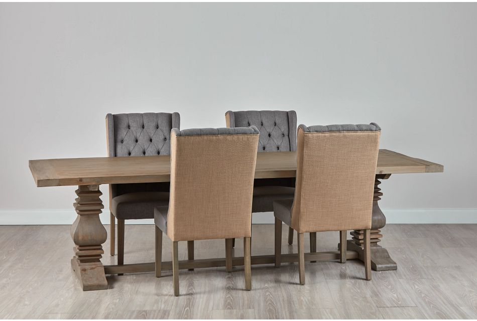 """Hadlow Gray 110"""" Table & 4 Tufted Chairs"""