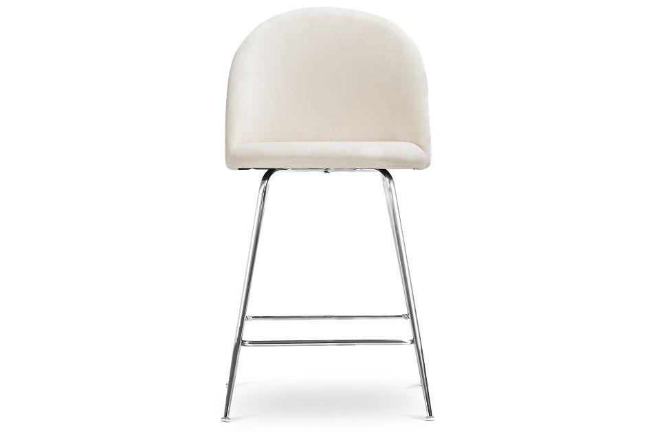 """Capri Ivory Upholstered 24"""" Barstool W/chrome Legs"""